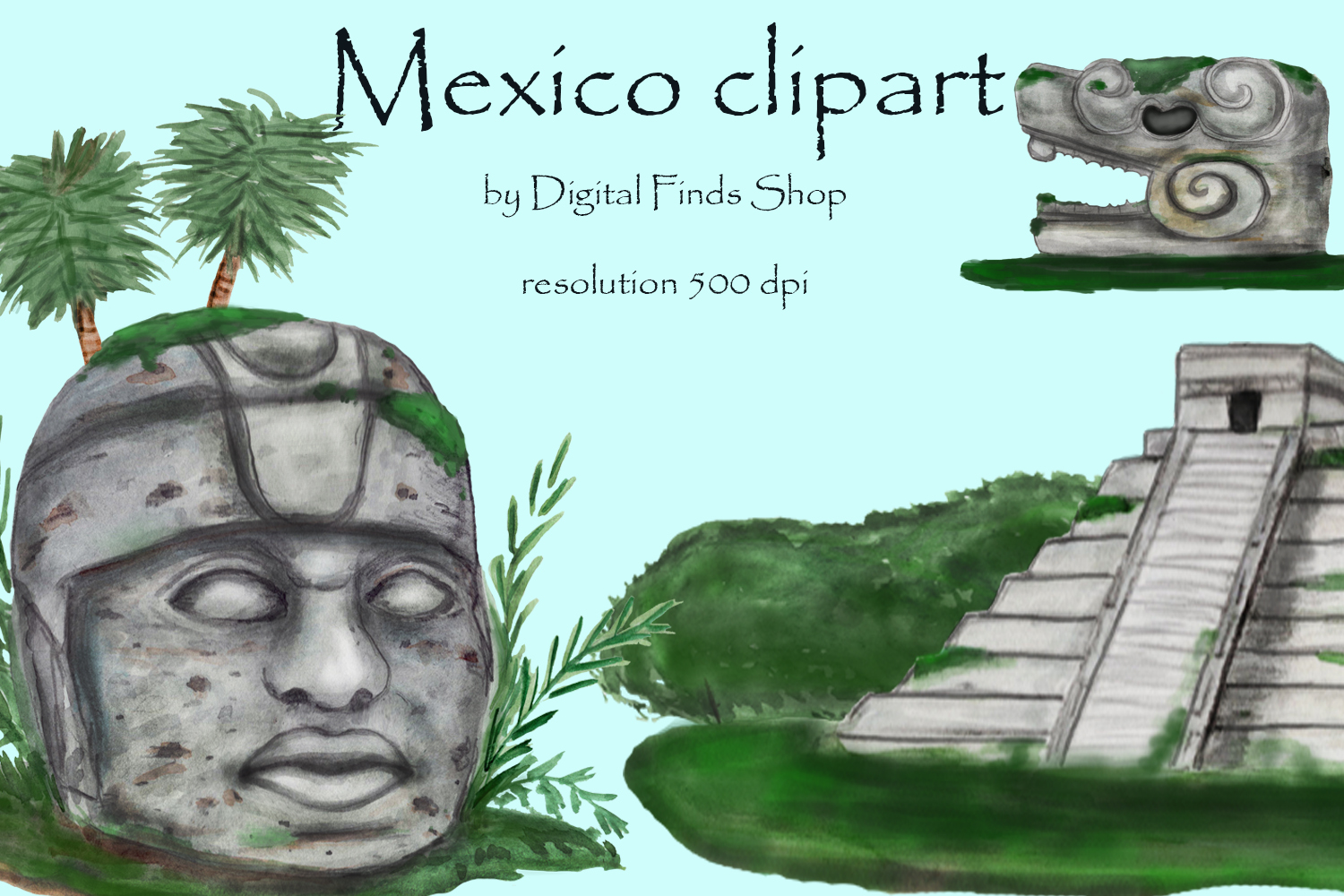 Mayan clipart, ancient civilizations of Mexico watercolor example image 5