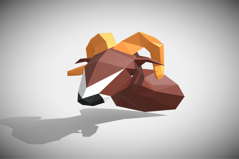 RAM DIY Paper Sculpture Animal head Trophy example image 2