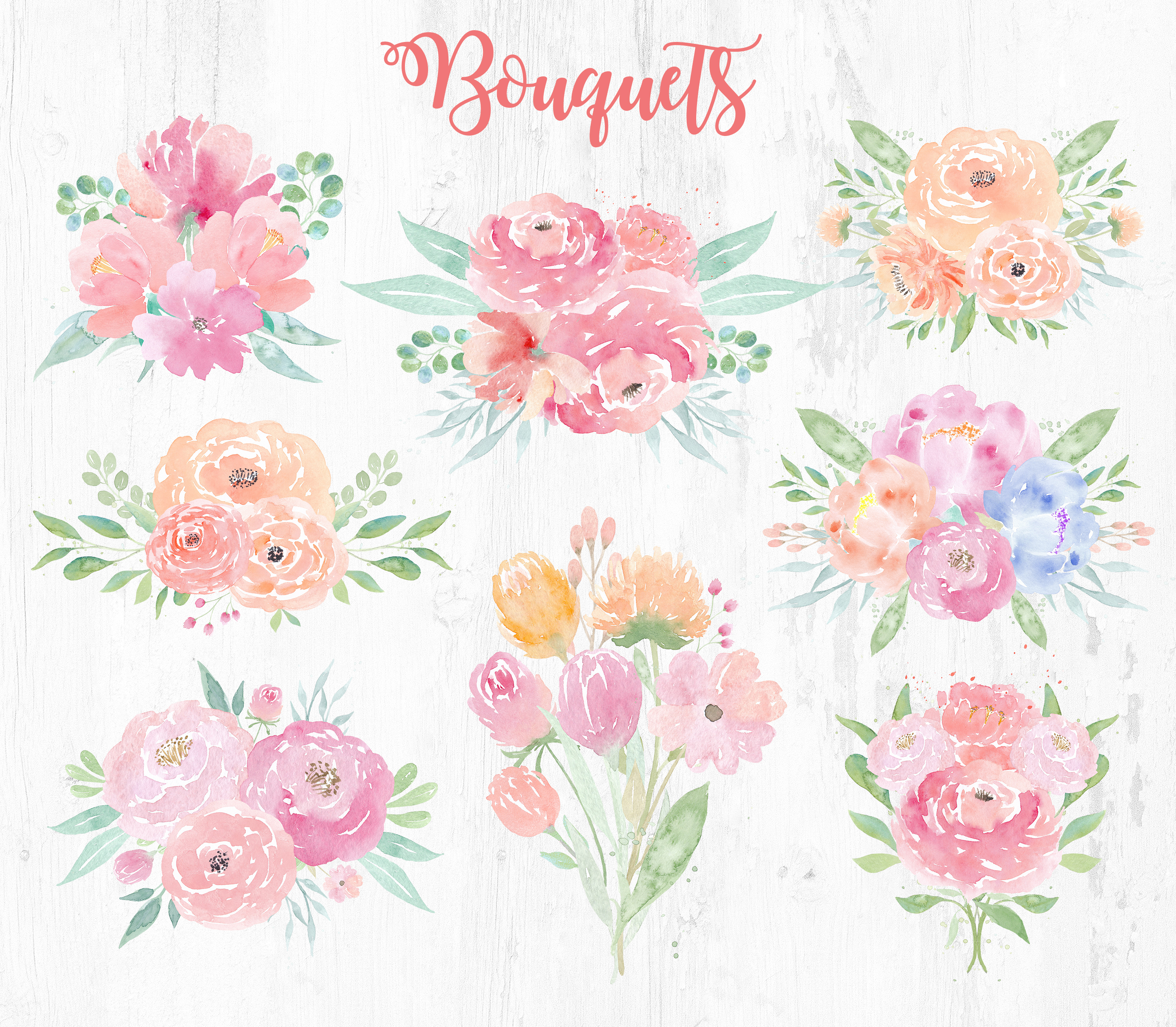 Watercolor Wedding Clipart. Flowers & Textures example image 4