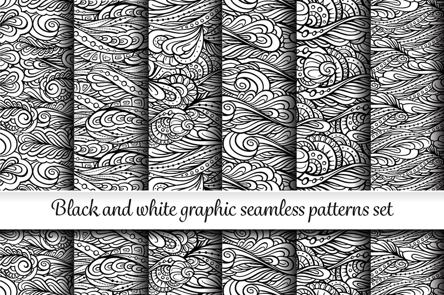 Black and white graphic seamless paterns set example image 1