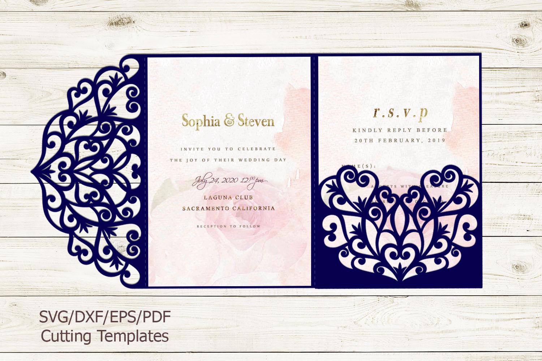 Trifold wedding invitation svg dxf pdf laser cut cricut file example image 2