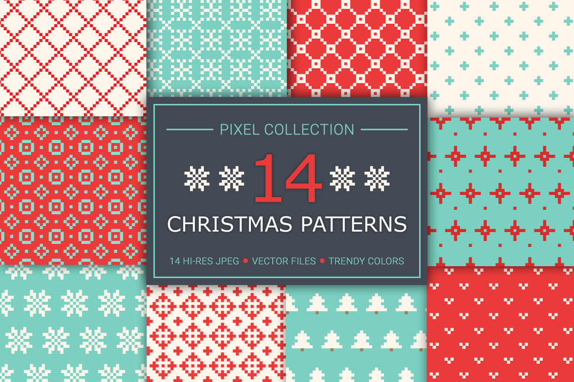 14 Christmas Pixel Seamless Patterns example image 1