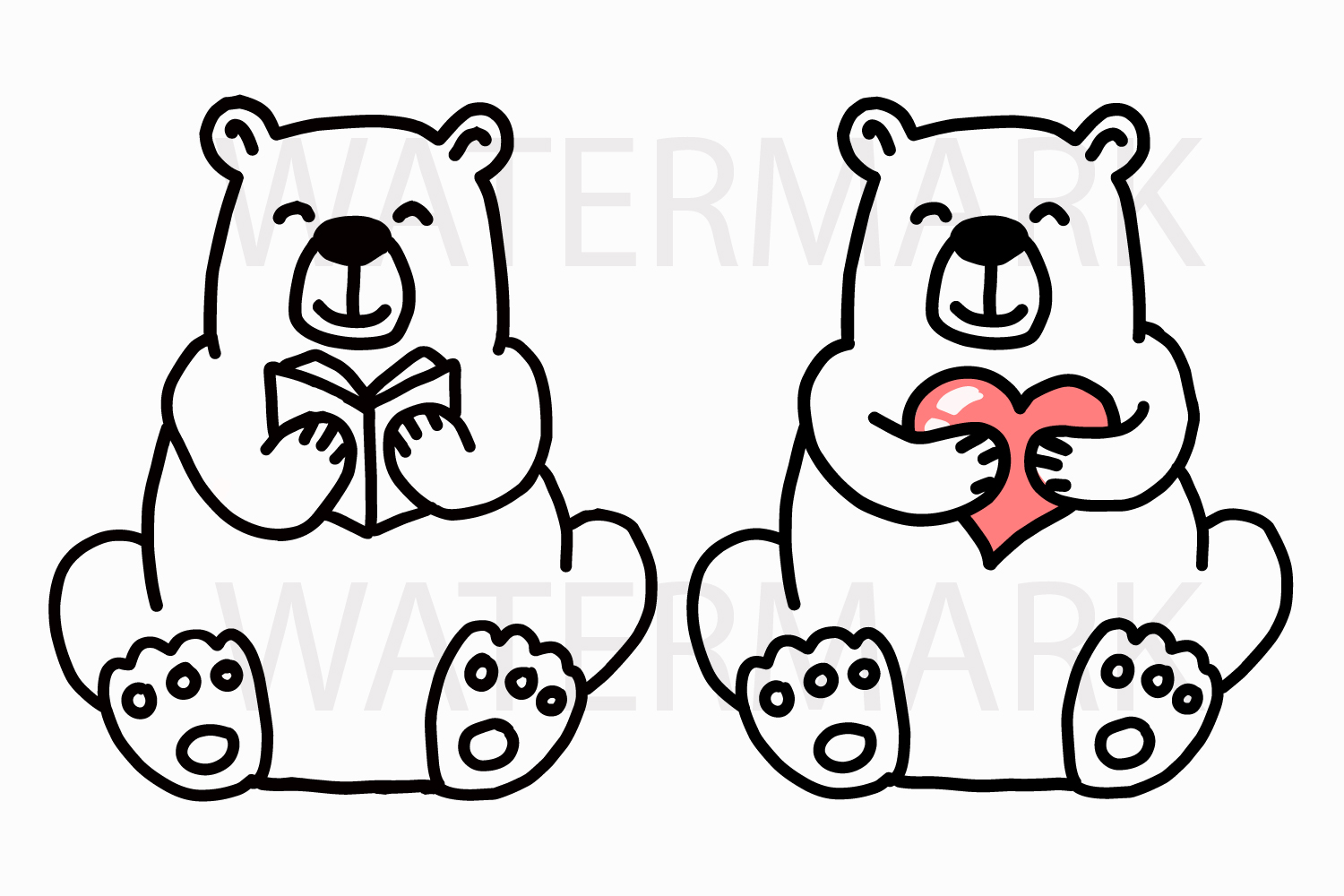 Bear Reading Book with Bear Holding a Heart - SVG/JPG/PNG example image 1