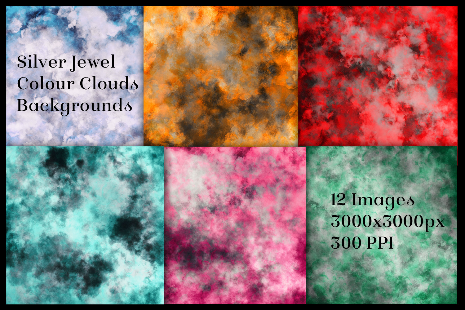 Silver and Jewel Colour Clouds Backgrounds - 12 Image Set example image 2