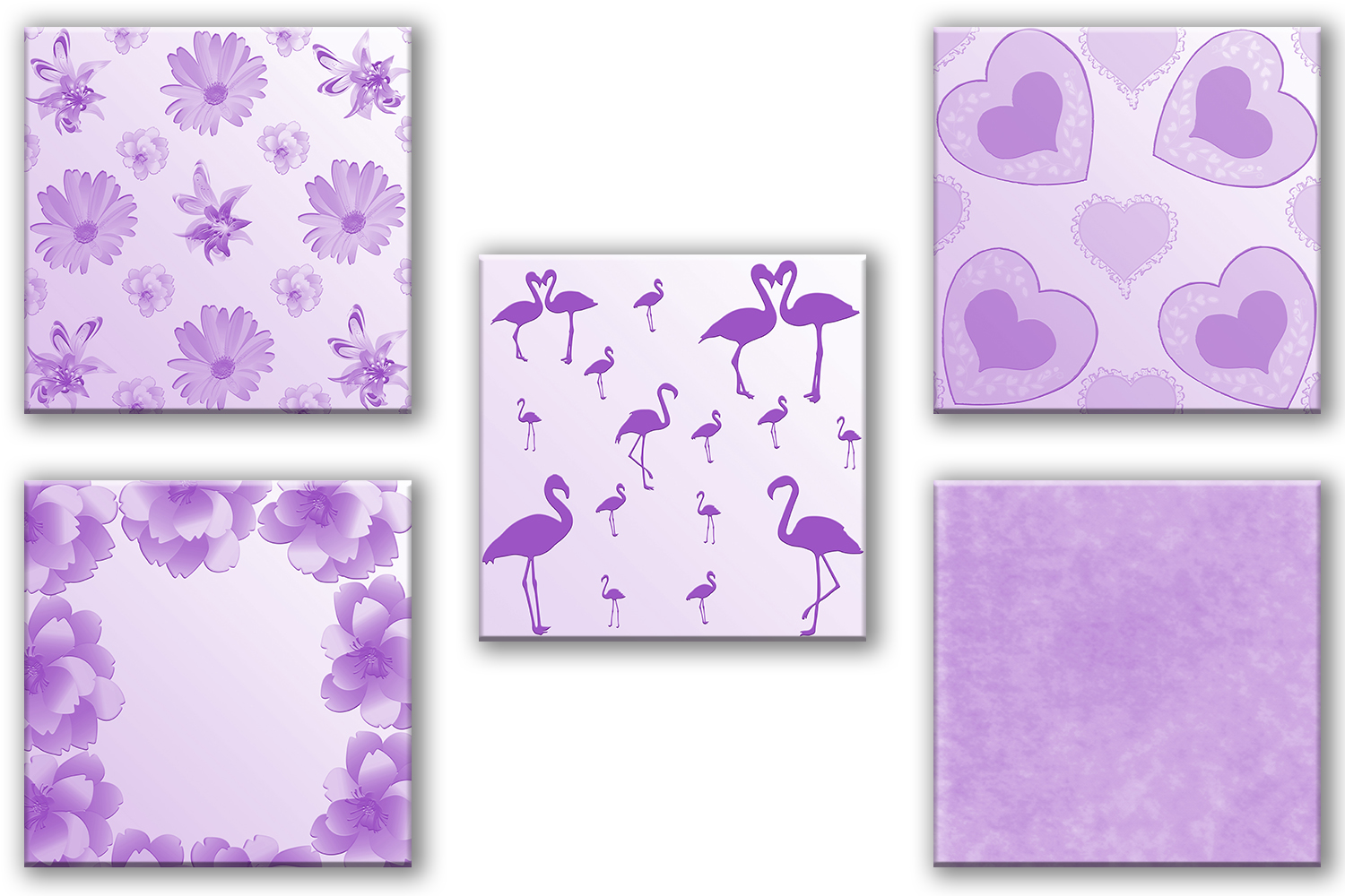 Purple Digital Paper, Purple Paper Flowers, Purple Pack, off example image 2