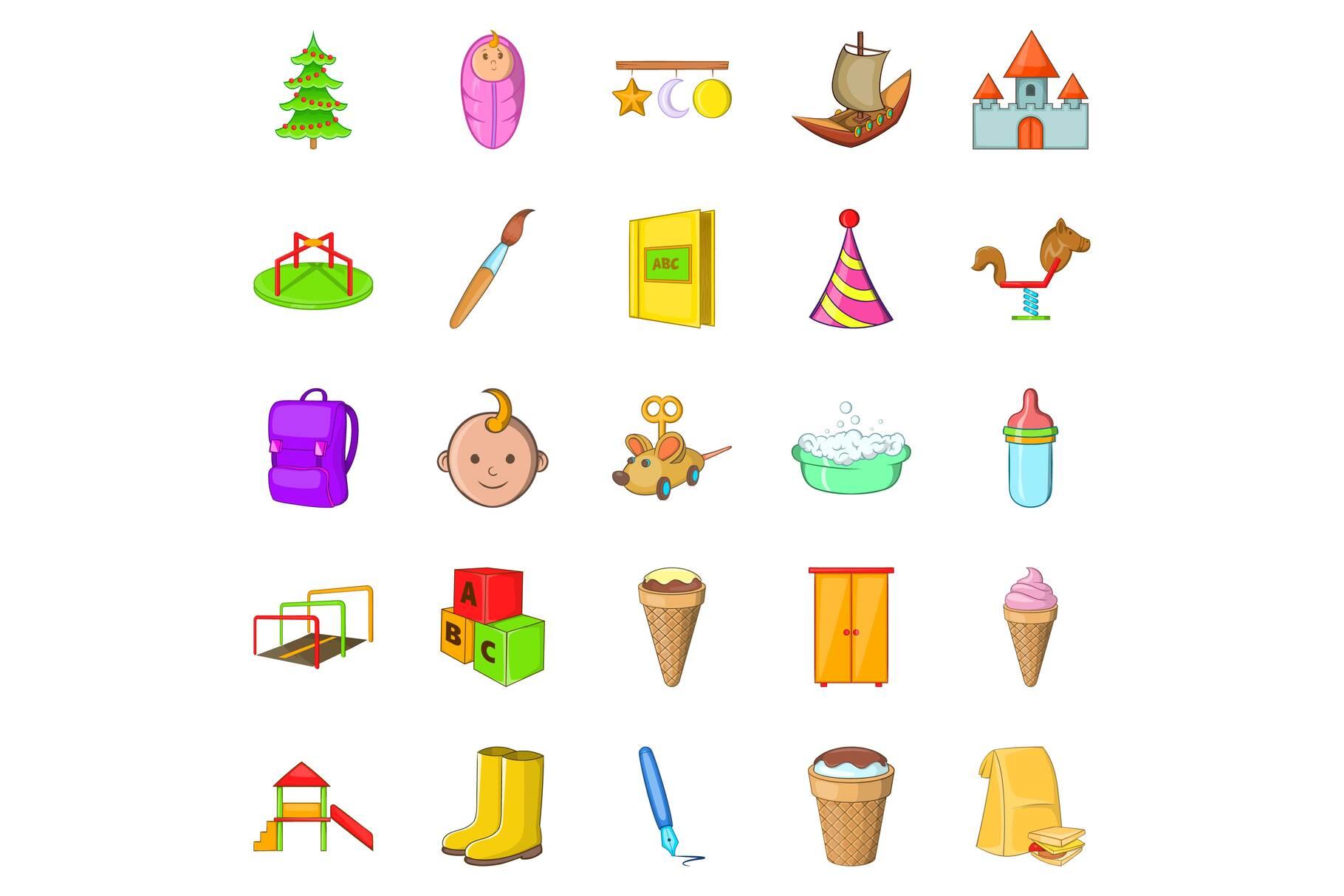Babies icons set, cartoon style example image 1