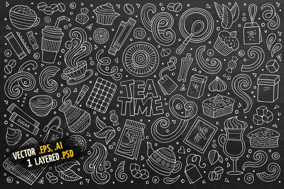 Tea Time Objects & Symbols Set example image 4