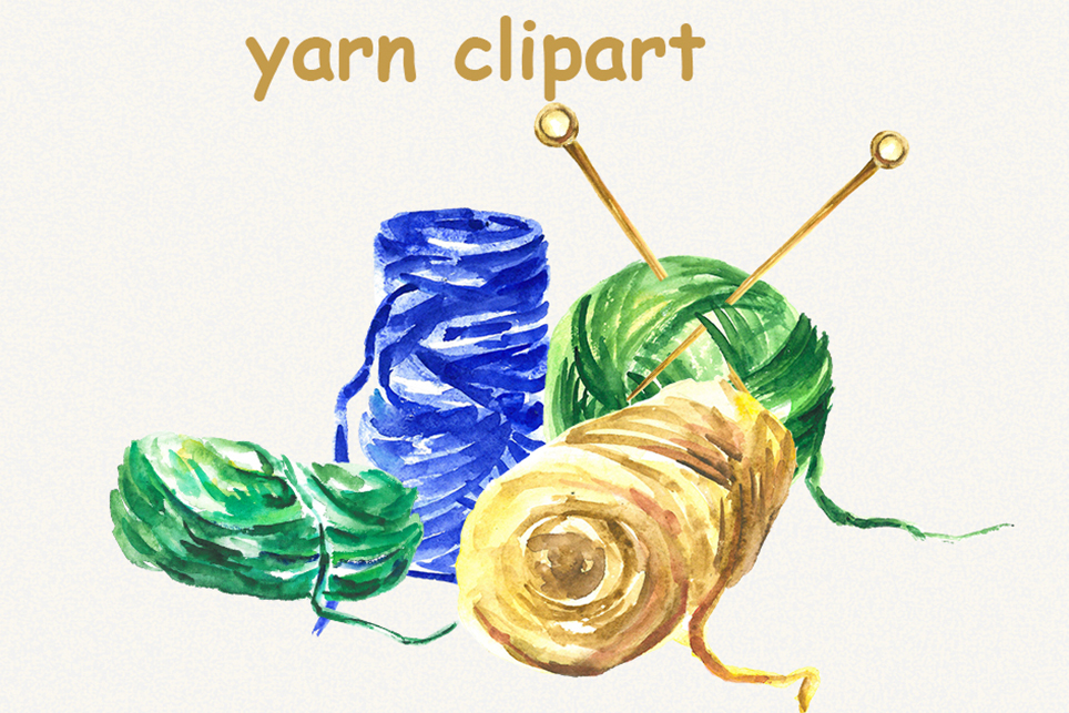 Yarn clipart, thread clipart, sewing, watercolor clipart example image 3