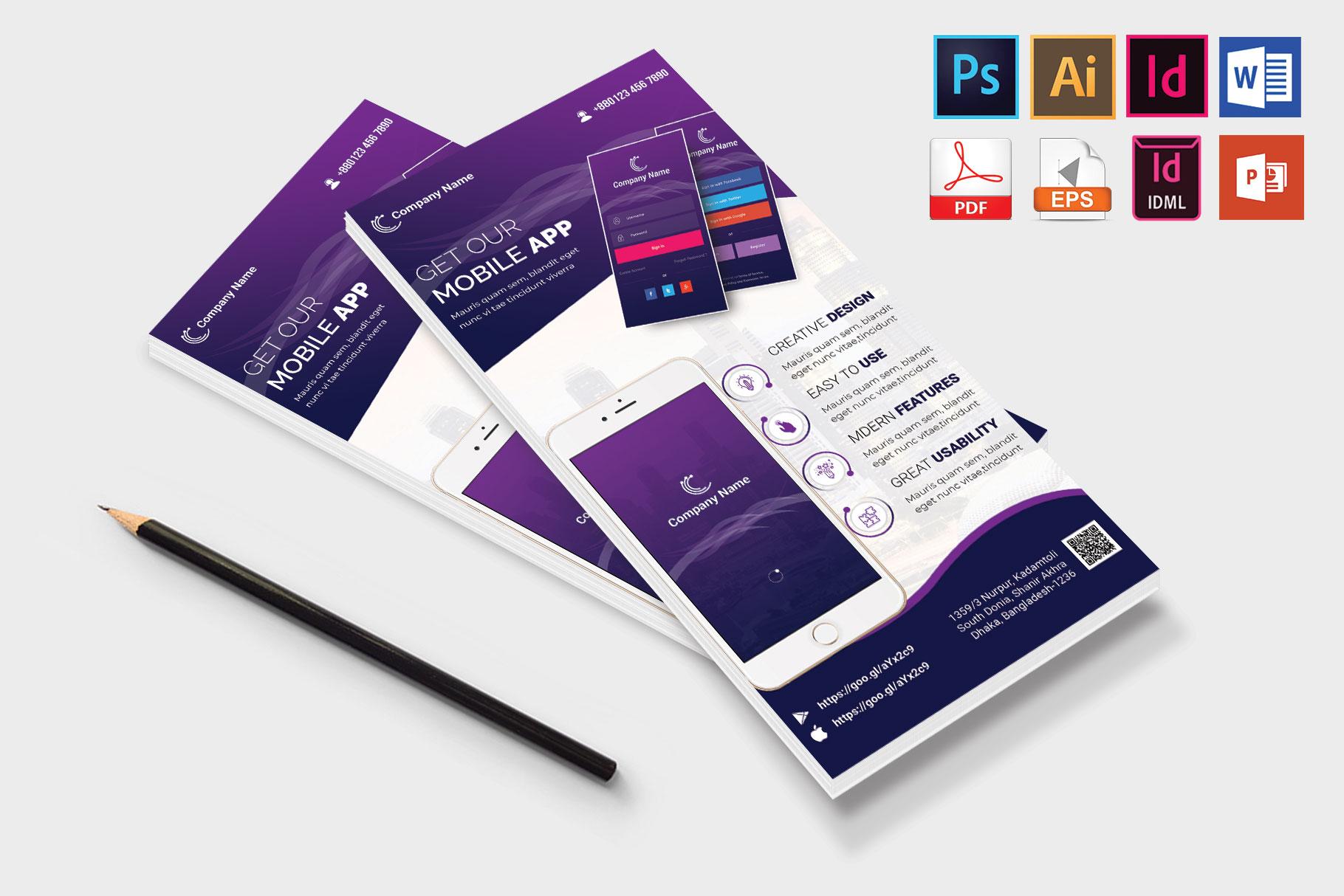 Mobile App Promotion DL Flyer Vol-01 example image 4