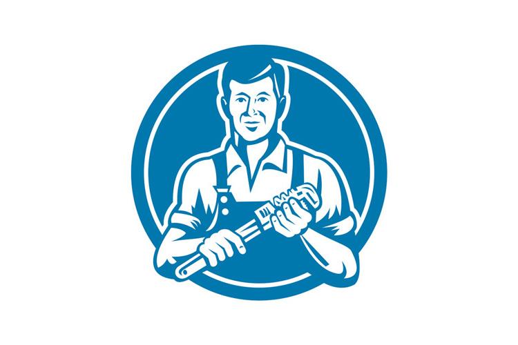 Plumber Holding Wrench Circle Retro example image 1