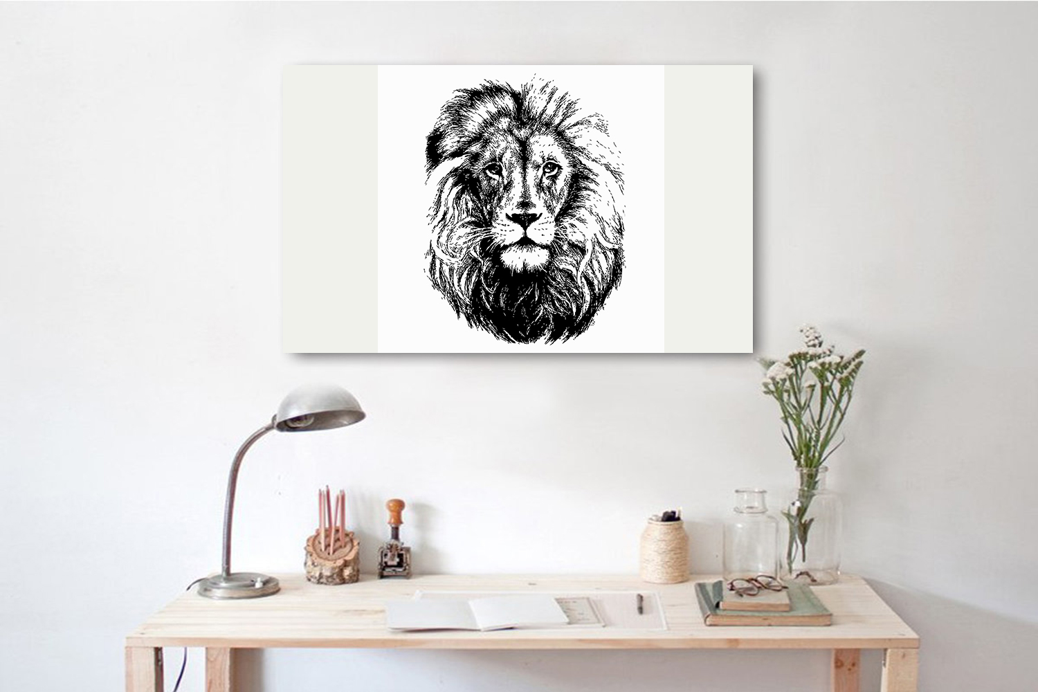 Lion head hand drawn silhouette, vector illustration example image 2