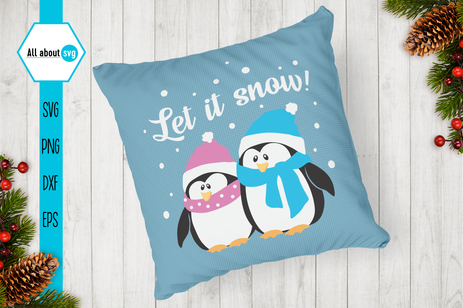 Let It Snow Penguins Svg example image 3