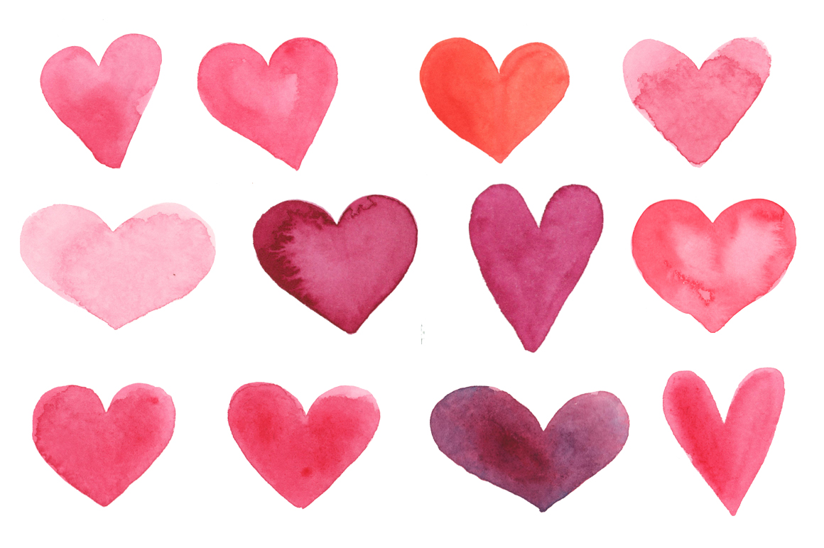 Watercolor Hearts Clipart PNG JPG Example Image 5
