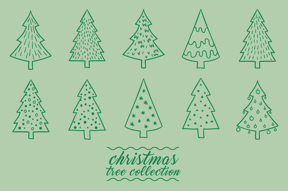Christmas tree collection hand drawing vector example image 1