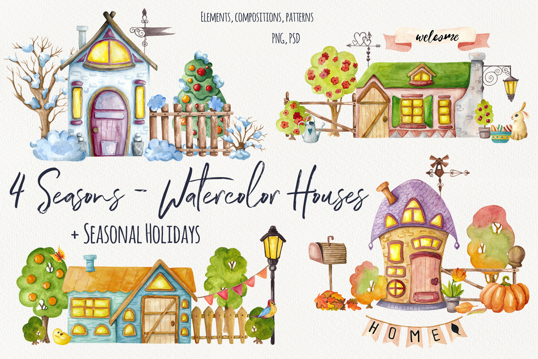 4 Seasons - Watercolor Houses example image 1