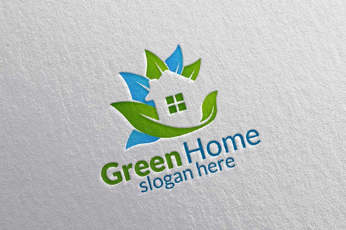 Real estate Logo, Green Home Logo 25 example image 5