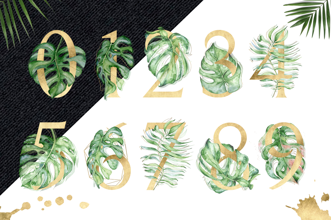 Gold Monstera - tropical leaves alphabet example image 5