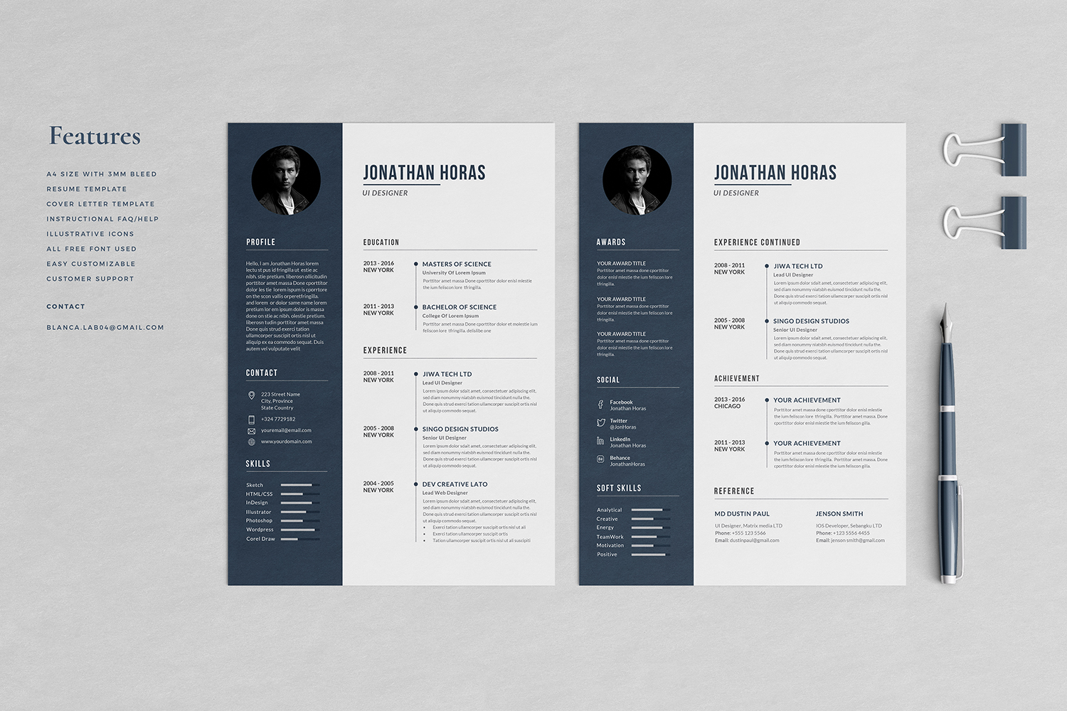 Jonathan Resume with Cover Letter Professional Template example image 2