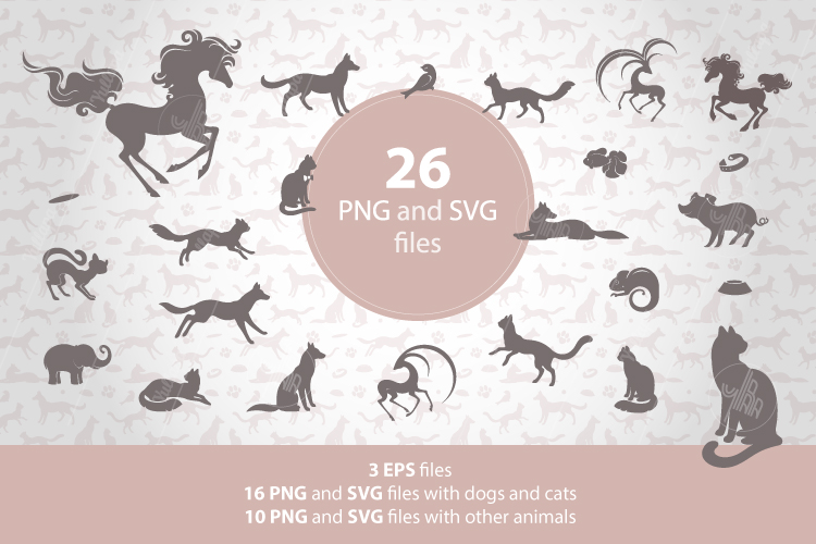 Animal silhouettes clipart, Pet patterns, SVG, EPS, PNG example image 1