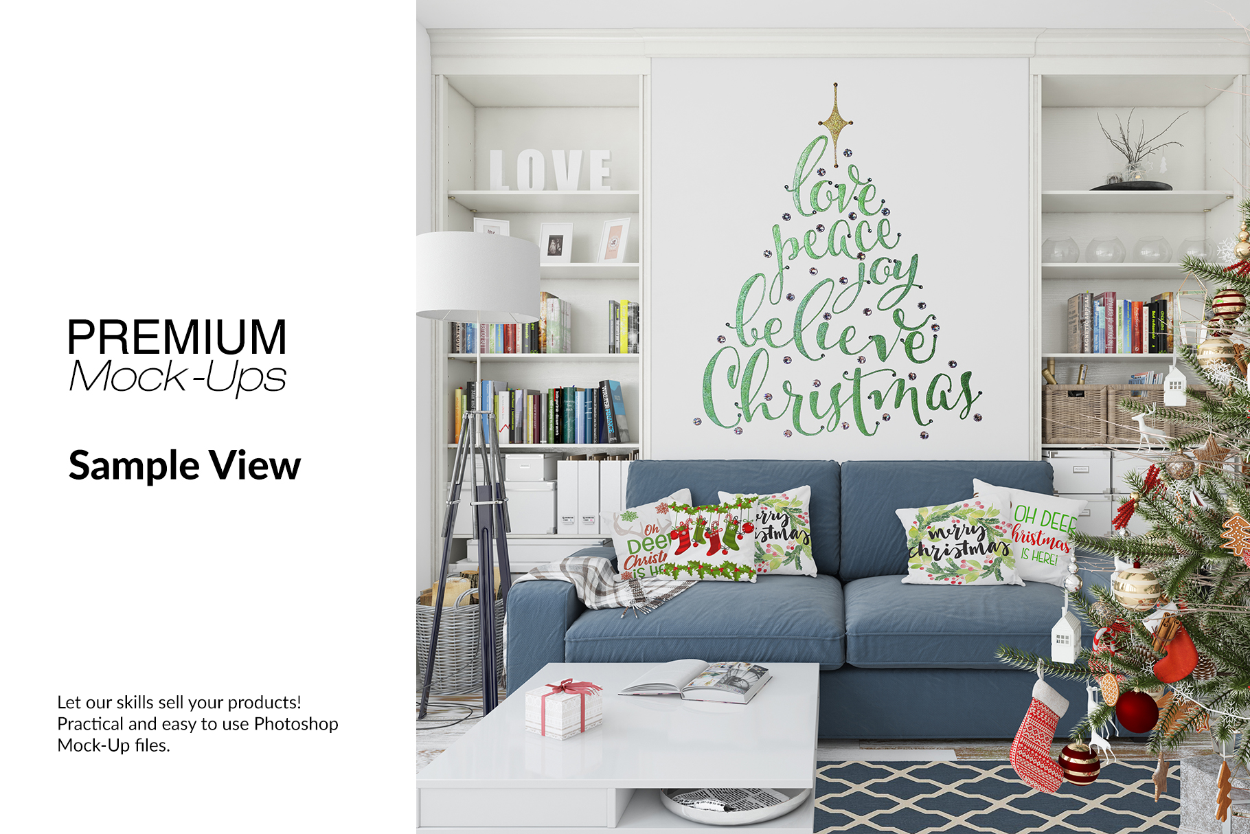 Christmas Living Room Set - Throw Pillows Frames & Wall example image 8