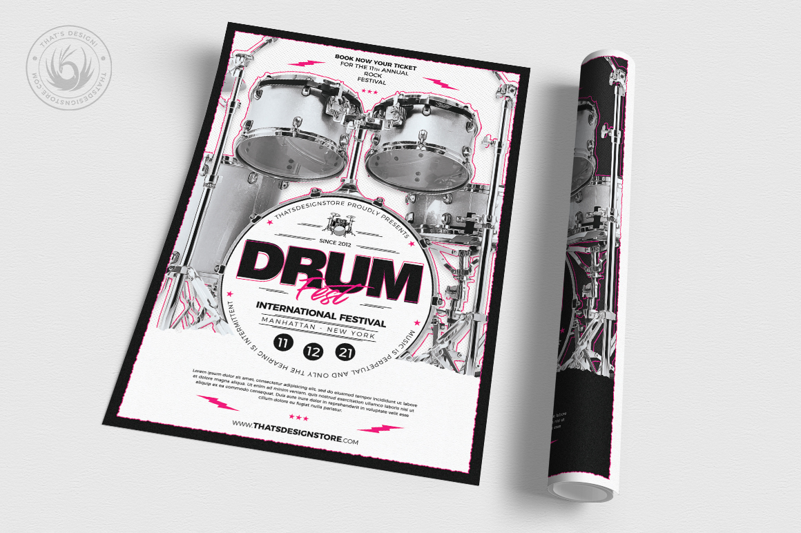 Drum Fest Flyer Template example image 3