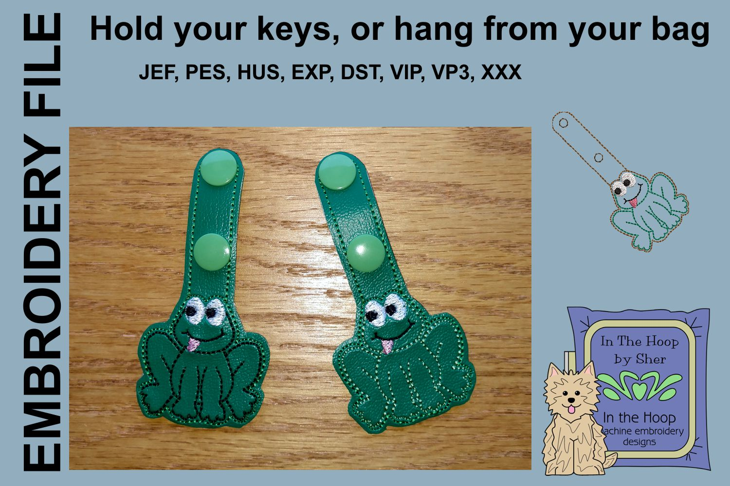 ITH Happy Frog Key Fob - Embroidery Design example image 2