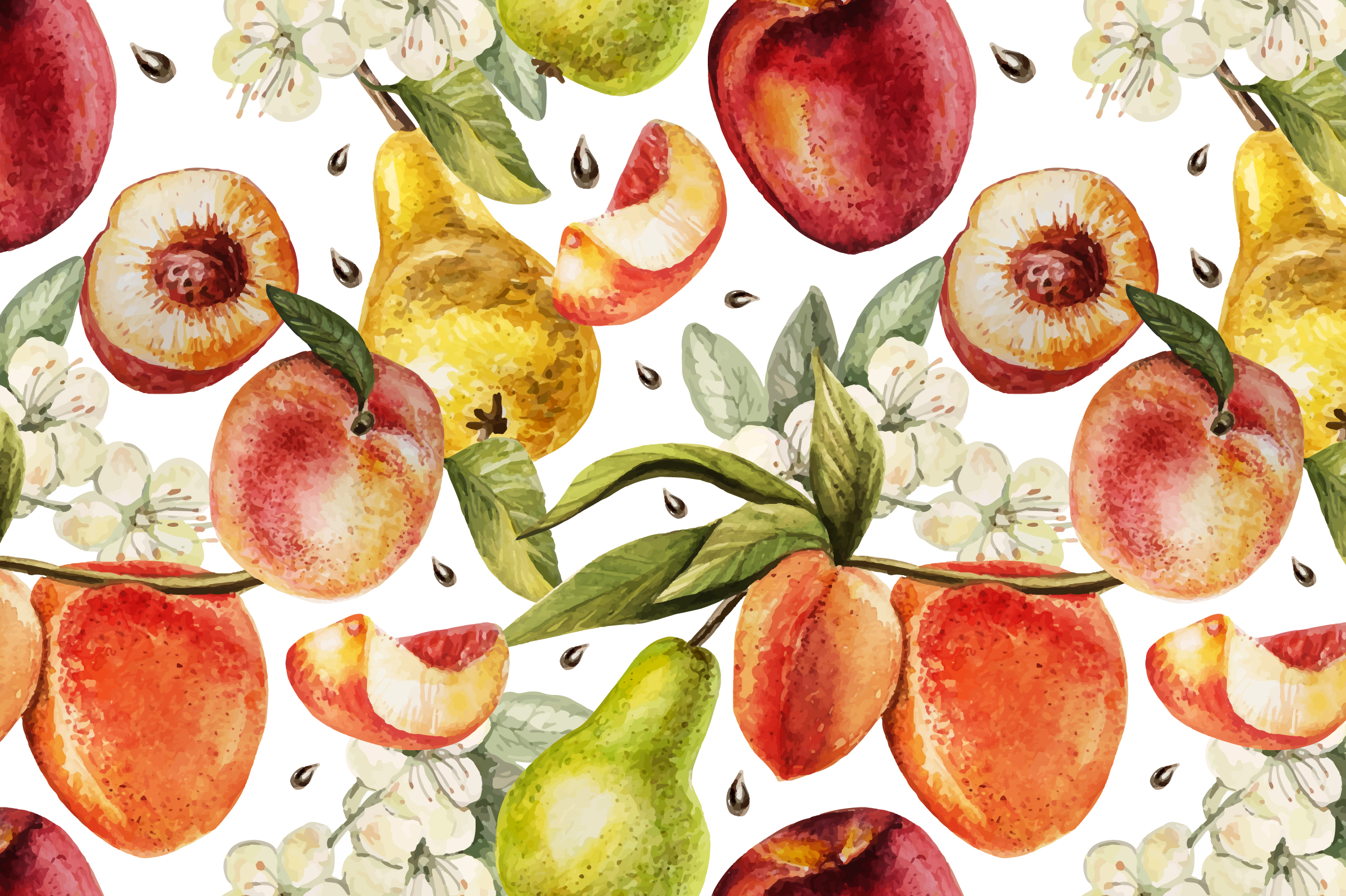 Hand Drawn Watercolor PEACH example image 3
