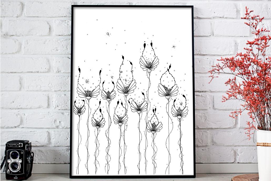 Dew Flower Doodle Art, A1, SVG example image 1