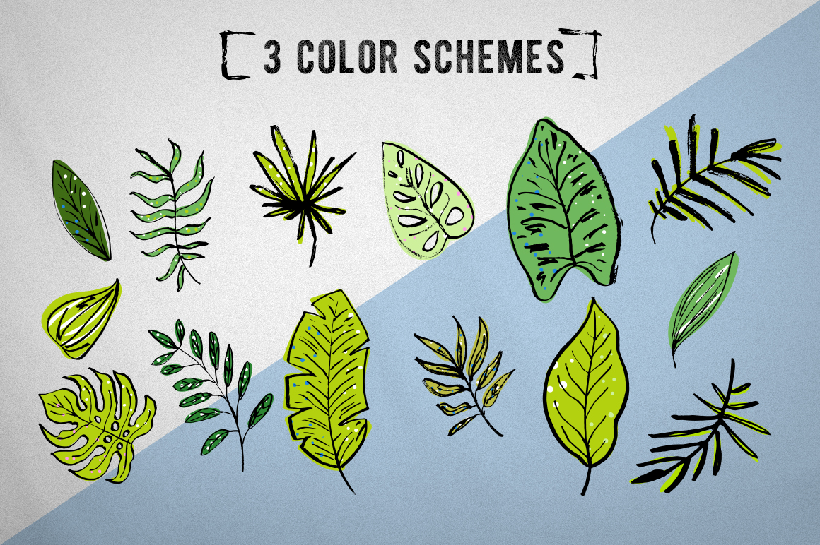 Tropical leaves set example image 2
