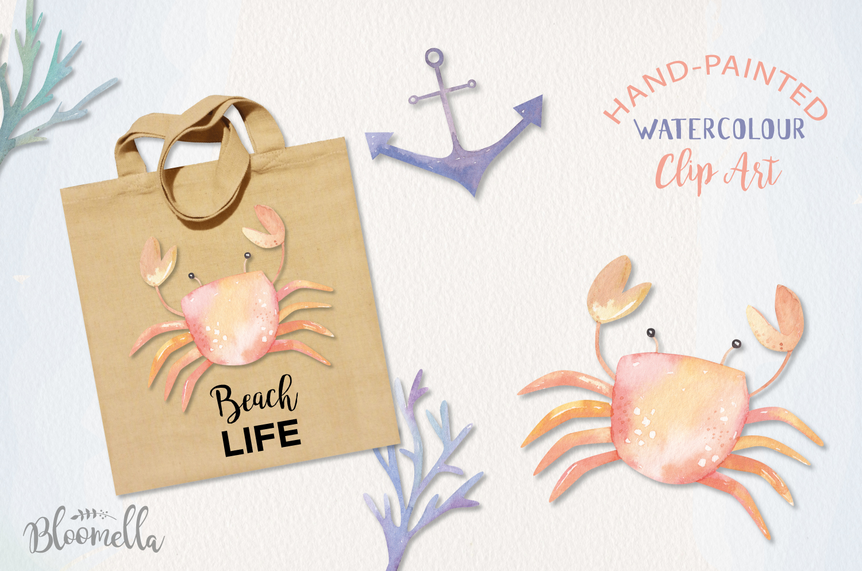 Sea Life Watercolor 14 Elements Ocean Cute Crabs Shell Pearl example image 3