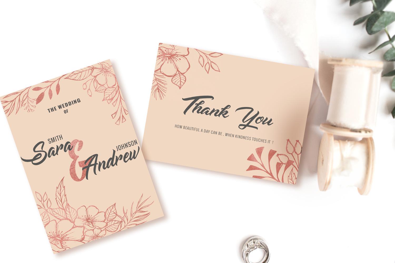 Pink floral wedding invitation set example image 4