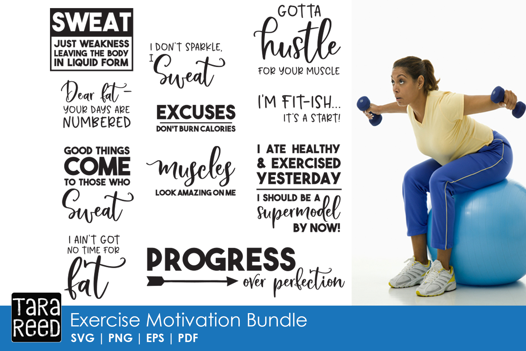 Exercise Motivation - Fitness SVG and Cut Files for Crafter example image 1