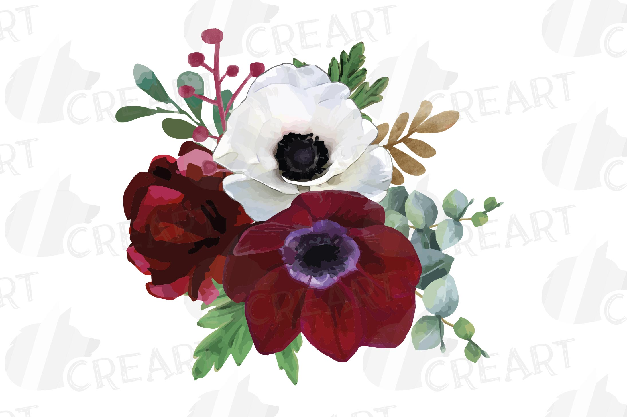 Watercolor elegant floral bouquets, rose, anemone decoration example image 18
