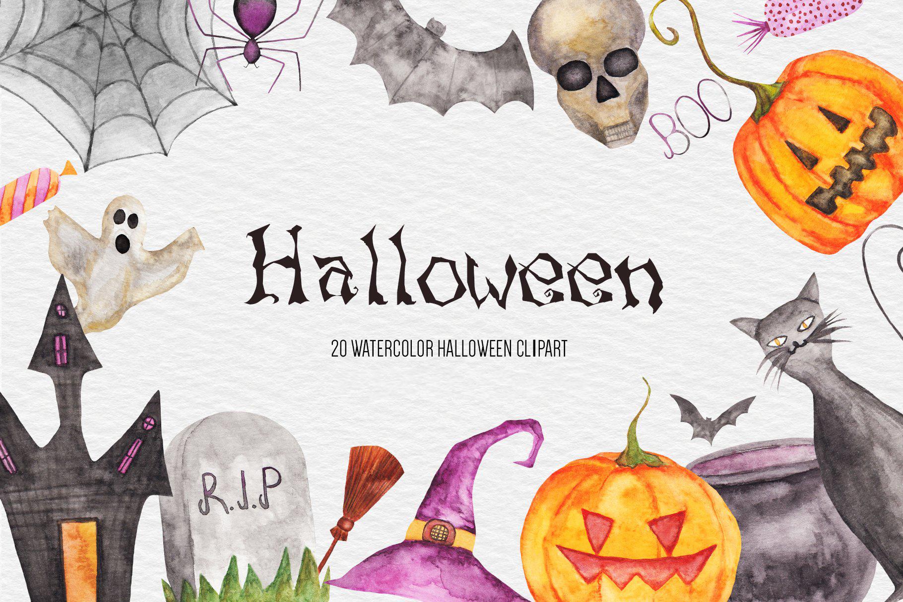 Watercolor Halloween Clipart, Pumpkin, Fall Autumn Clipart example image 1