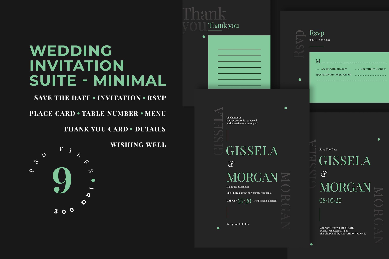 Wedding Invitation Suite - Minimal example image 1