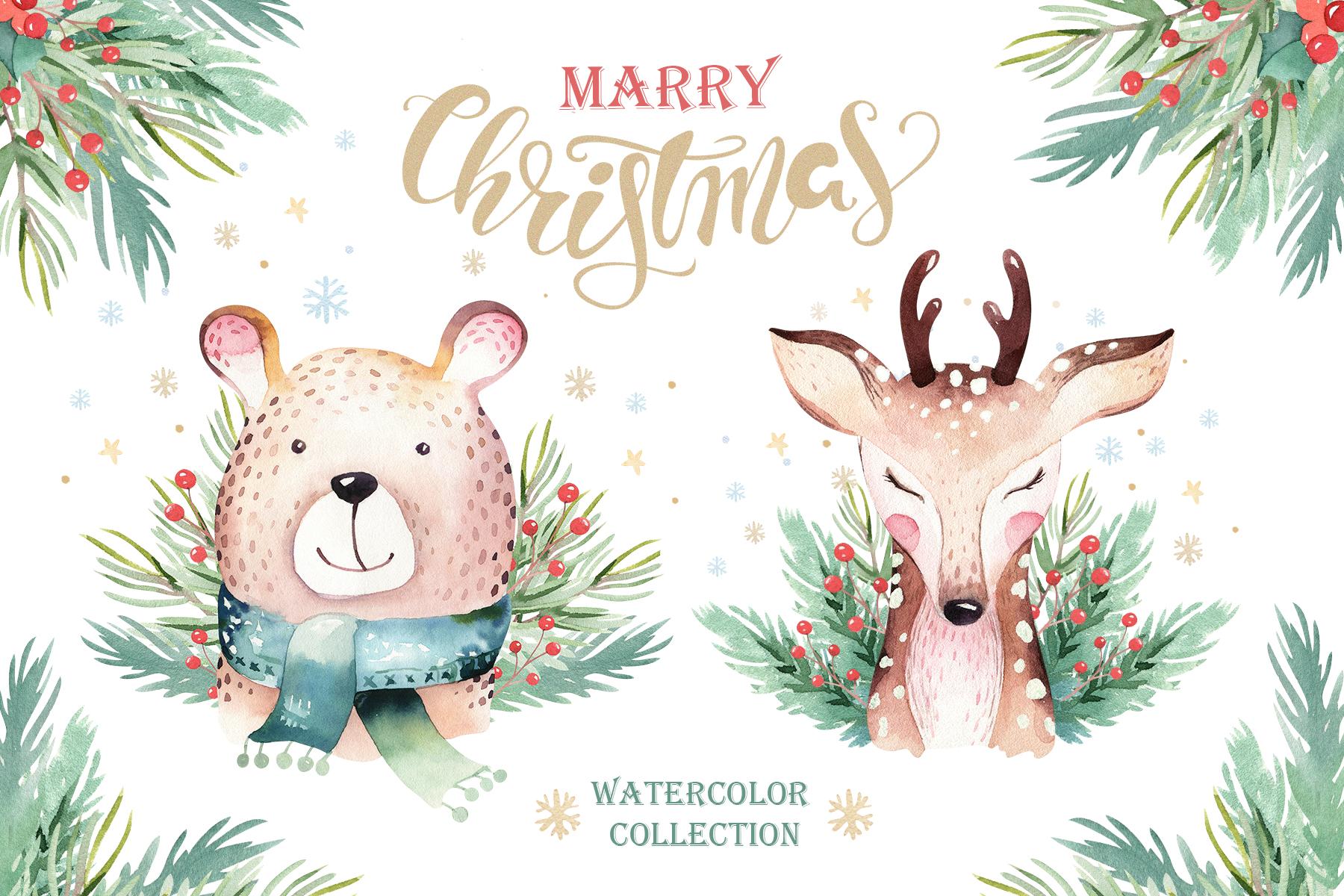 Watercolor Christmas animals raccoon, bear, deer and penguin example image 1