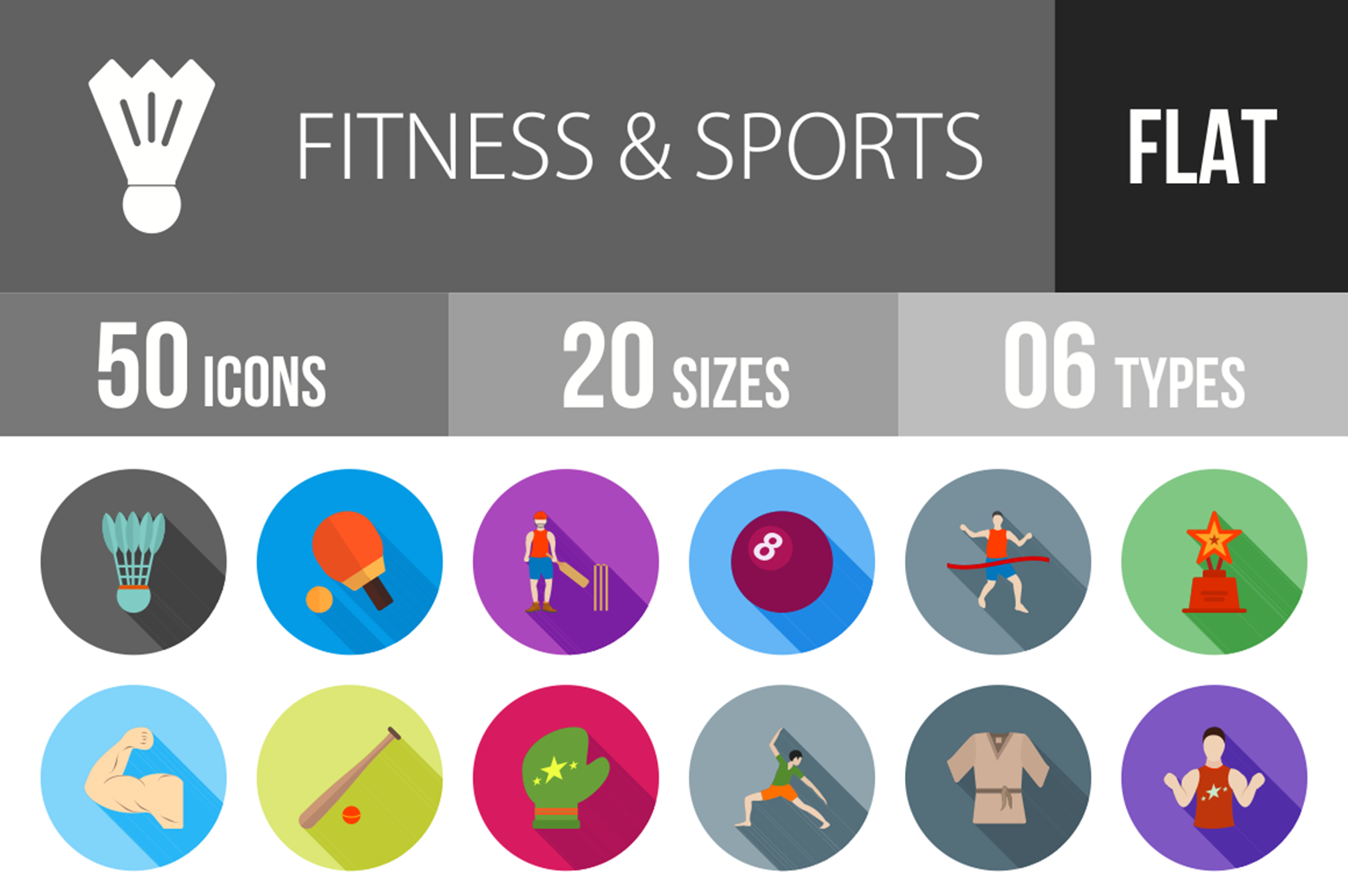 50 Fitness & Sports Flat Long Shadow Icons example image 1