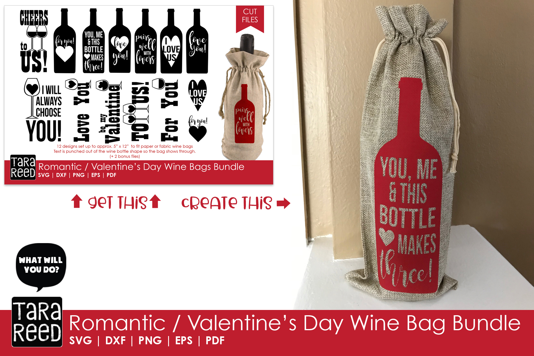 Valentines Day Wine Bags Bundle example image 2