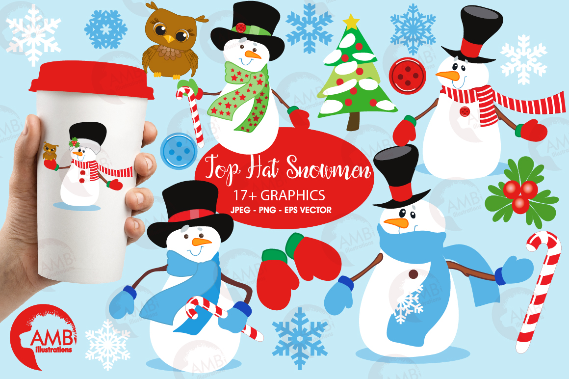 Snowmen in tophats clipart, graphics, illustrations AMB-502 example image 1