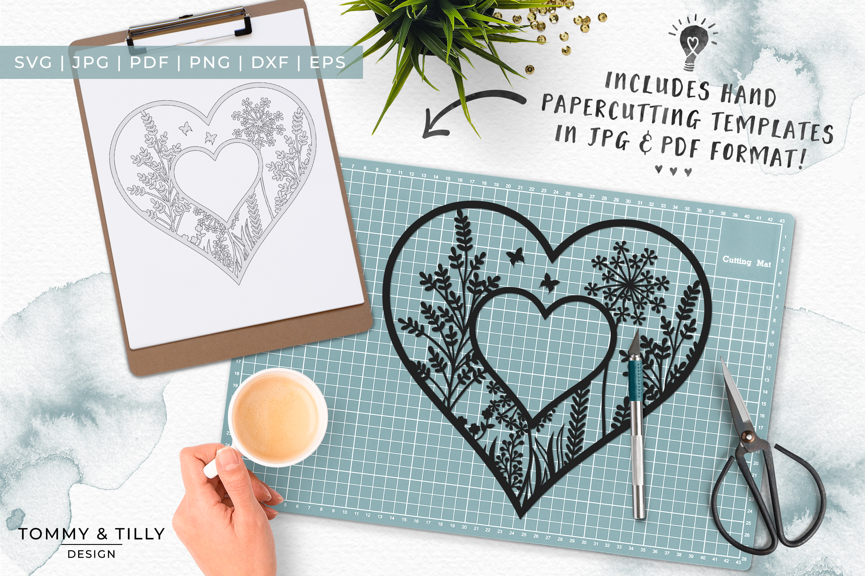 Meadow Heart x 3 - Papercut Template SVG EPS DXF PNG PDF JPG example image 3