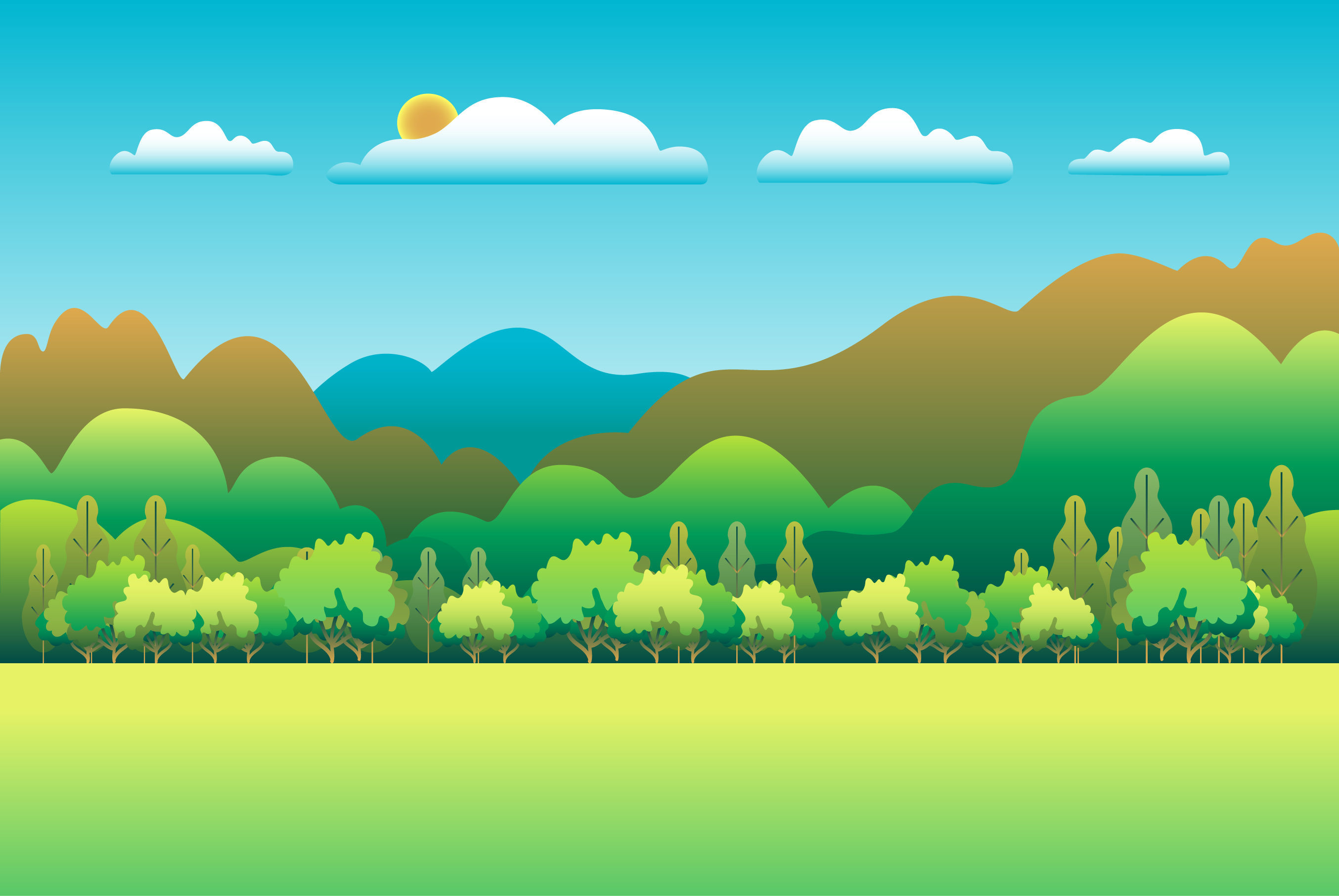 Hills and mountains landscape in flat style design example image 1