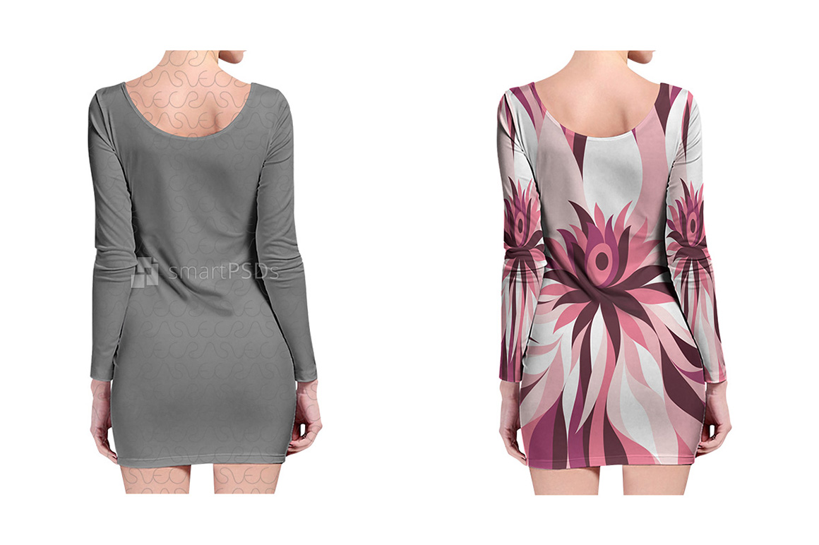 Long Sleeve Bodycon Dress Design Mockup for Sublimation Printing - 2 Views example image 2