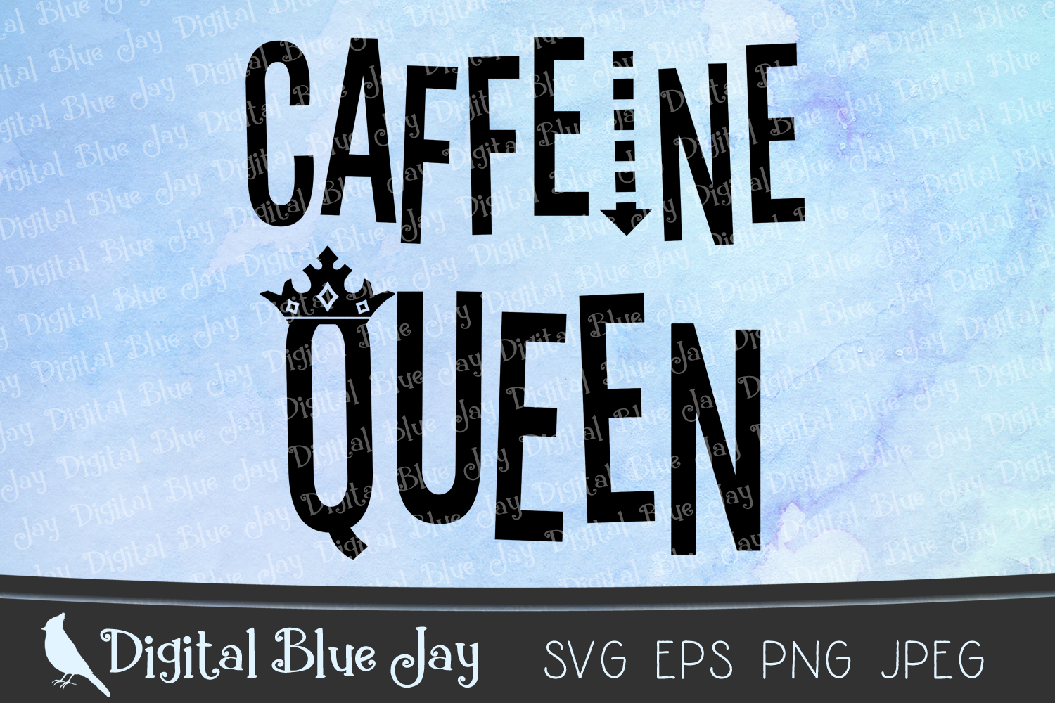 Caffeine Queen SVG PNG Cut Files example image 1