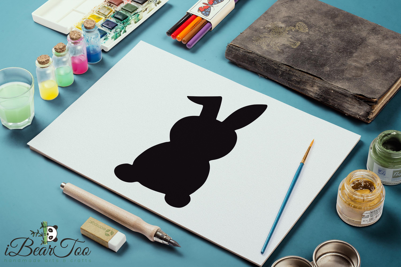 Rabbit SVG Black Clipart Bunny Drawing Vector Cut Files example image 11