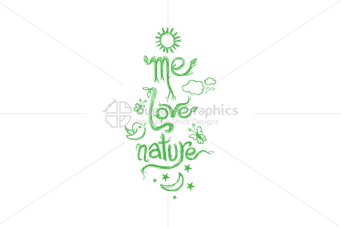 Me Love Nature - Scribble Textual Design Composition example image 2