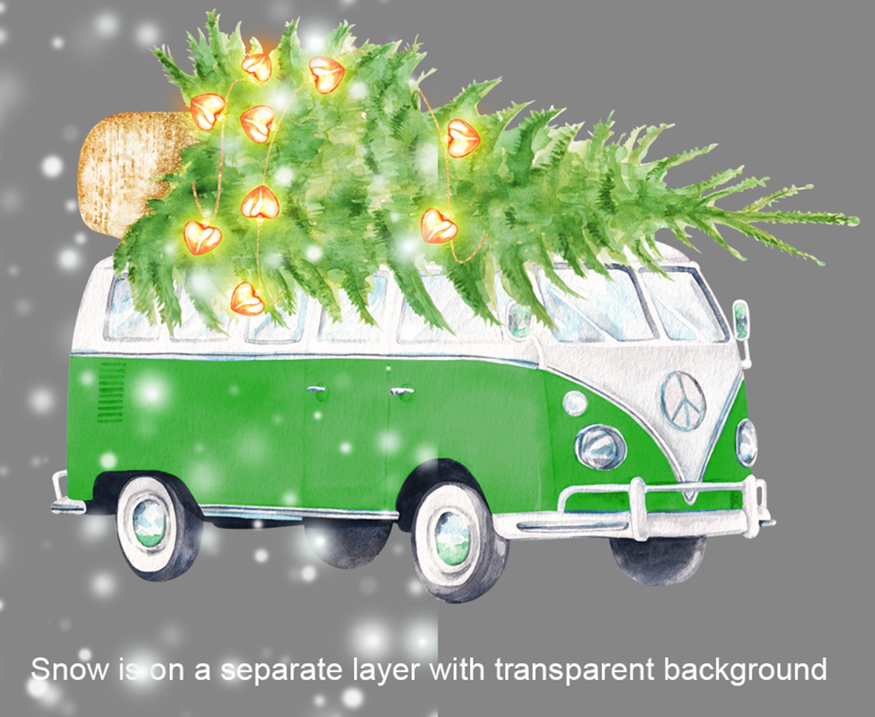 Watercolor Christmas retro van clipart example image 4