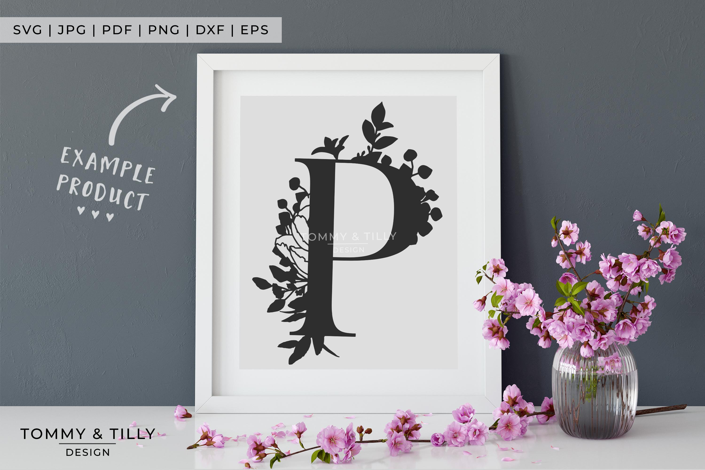 P Bouquet Letter Design - Paper Cut SVG EPS DXF PNG PDF JPG example image 2