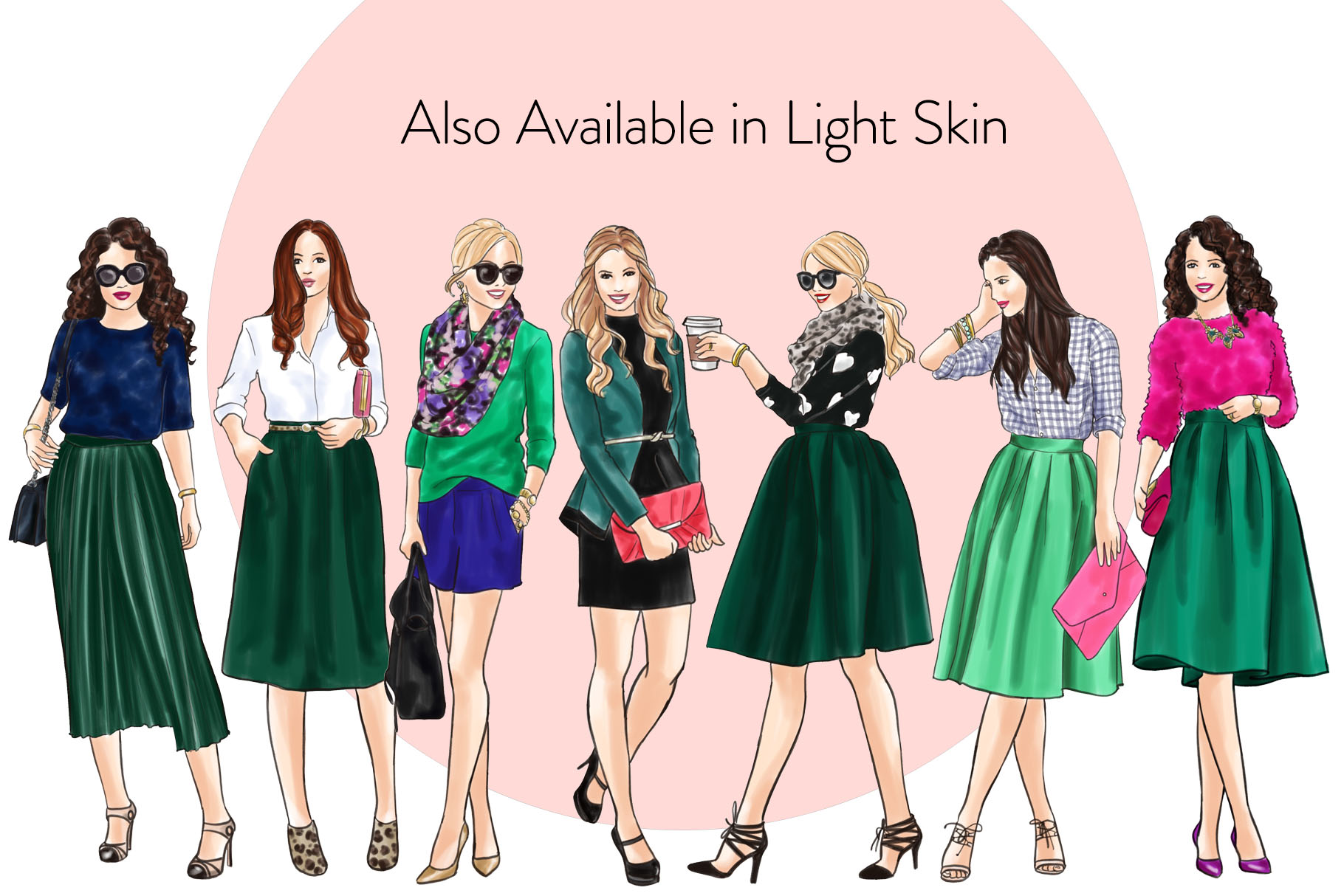 Fashion illustration clipart - Girls in Green 2 - Dark Skin example image 4