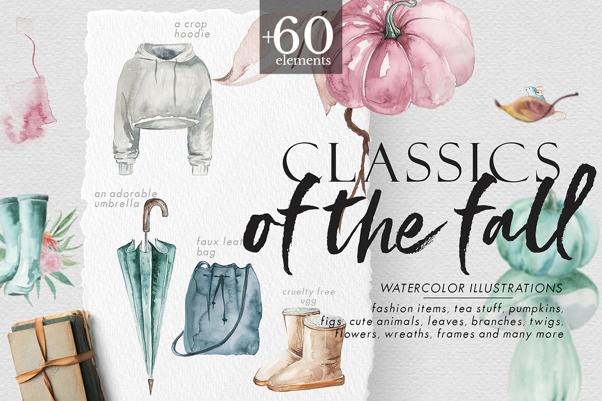 Classics of the fall - Watercolor Clipart example image 1