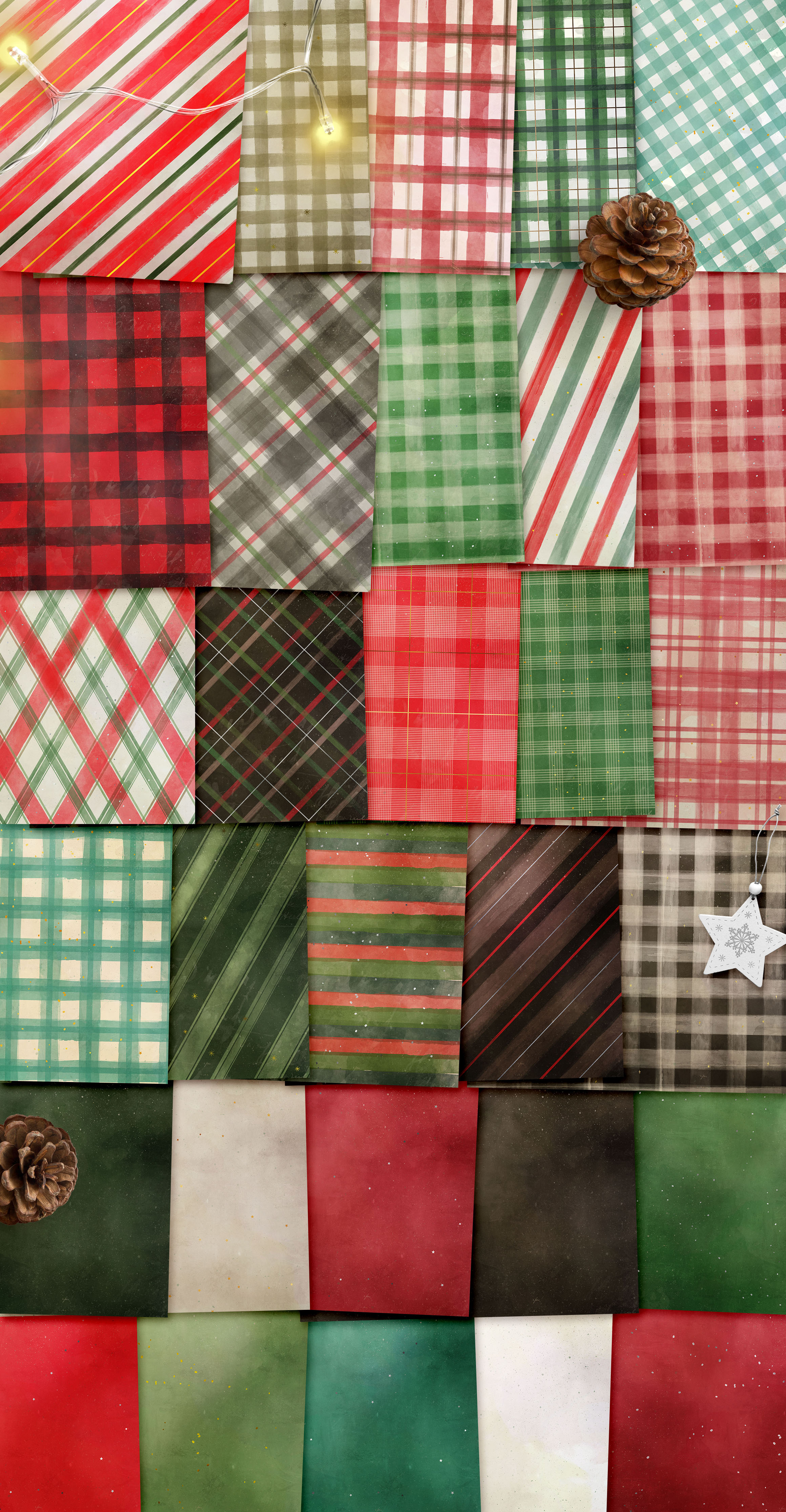 Classic Christmas Plaids and Stripes Digital Papers example image 2